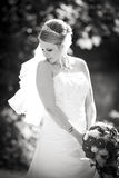 Black and white - Pretty wedding portrait of bride Royalty Free Stock Images