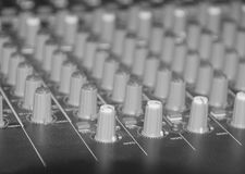 Black and white, Professional sound mixer control desk Royalty Free Stock Photo
