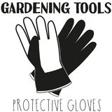 Black and white protective gloves silhouette. Garden tool vector illustration gift card certificate sticker, badge, sign, stamp, logo, label, icon, poster Stock Photos
