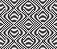Black and White Psychedelic Circular Textile stock illustration