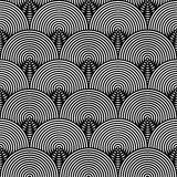 Black and White Psychedelic Circular Textile Royalty Free Stock Images