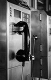 Black and white of  public telephone Stock Photos