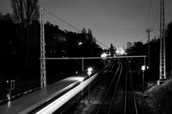 Black and white of public train driving through berlin Stock Images