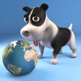Black and white puppy dog plays with a globe of the Earth, 3d illustration. Render vector illustration