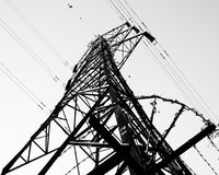 A Black and White Pylon, Chippenham, Wiltshire. A pylon in Chippenham, Wiltshire, England royalty free stock images