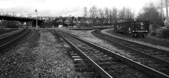 Black and White Rail Yard Stock Photos