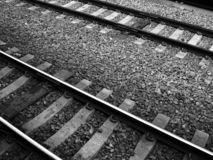 Black and White Railroad Tracks. A close-up of a railroad in black and white Stock Photos