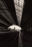 Black and White railway station photo Royalty Free Stock Photos