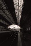 Black and White railway station photo. Railway Station photographed along the railway; black and white Royalty Free Stock Photos