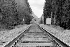 Black and white railway tracks bridge Stock Photos