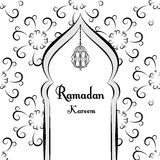 Black and white Ramadan greetings background. Ramadan Kareem means. Mosque. Vector illustration Stock Photos