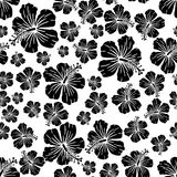 Black on white random hibiscus flower seamless repeat pattern background. Two colour random hibiscus flower seamless repeat pattern background. Could be used for Stock Photography