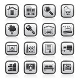 Black and white real Estate Icons Stock Image