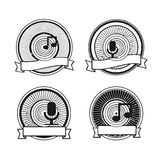 Black and white record microphone stamp Stock Images
