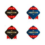 Black And White Rectangle Premium Labels With Starred Red Ribbon. Golden Premium Labels Royalty Free Stock Photo