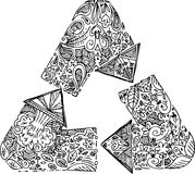 Coloring recycle arrows. Triangle of black and white recycle arrows. Sketched doodle vector illustration Stock Image