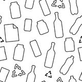 Black and white recycle garbage: plastic glass paper and metal materials ecology concept seamless pattern, vector stock illustration