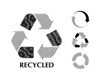 Black and white recycle symbol in sketch Royalty Free Stock Photo