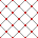 Black white red dotted squares simple seamless pattern, vector Stock Images