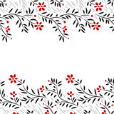 Black white and red flowers horizontal seamless border on white, vector Stock Images