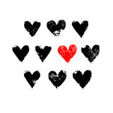 Black white and red grunge hearts print, vector. Illustration Stock Images
