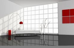 Black ,white and red minimal living room Royalty Free Stock Image