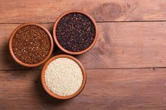 Black , white and red quinoa Royalty Free Stock Photo