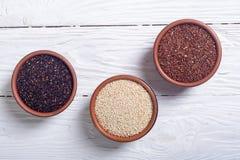 Black , white and red quinoa Stock Image