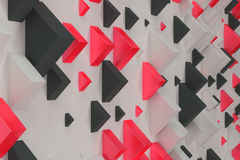 Black, white and red rectangular shapes of random size on white. Background. Wall of cubes. Abstract background. 3D rendering illustration royalty free illustration