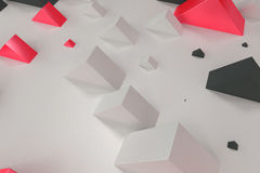 Black, white and red rectangular shapes of random size on white. Background. Wall of cubes. Abstract background. 3D rendering illustration stock illustration