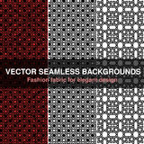 Black white red seamless pattern background. Fashion fabric for elegant design. Abstract geometric frames. Stylish decorative labe Royalty Free Stock Images