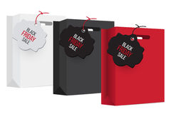 Black, white and red shopping bag with sales tag. Royalty Free Stock Image