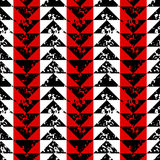 Black white and red sponge print triangles geometric grunge seamless pattern, vector Stock Image