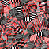 Black white red striped squares chaotic squares seamless pattern, vector Stock Photos