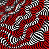 Black, white and red wavy stripes. Stock Photos