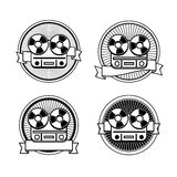 Black and white reel tape recorder stamp Royalty Free Stock Photo