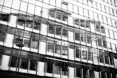 Black and white reflection, architecture abstract. London, UK Stock Image