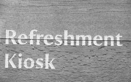 Refreshment kiosk sign royalty free stock photography