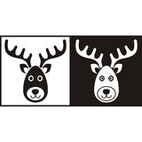 Black and white reindeer face. Christmas icons Royalty Free Stock Photography