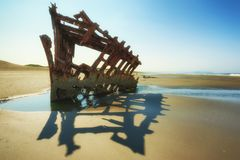 Black and White of the remains of the Peter Iredale Shipwreck Stock Photography