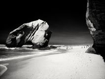 Santa Cruz beach in Portugal. Black and white rendition of a beach in Portugal stock photo