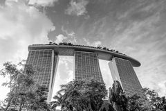 Black and White Rendition of Marina Bay Sands Hotel Resort Royalty Free Stock Photo