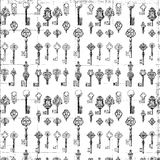 Black and white repeat antique key pattern. Black and white repeat antique grungy key pattern Royalty Free Stock Images
