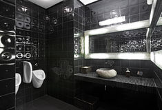 Black and white restroom Royalty Free Stock Photos