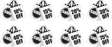 Black and White Retail Discount Shopping Bags Royalty Free Stock Photography