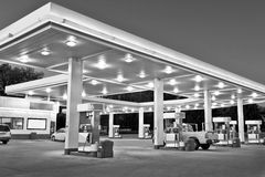 Black and White Retail Gasoline Station and Convenience Store Stock Image