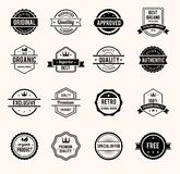 Black and White Retro Badges stock illustration
