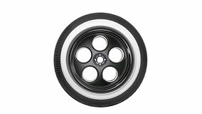 Black with white retro car wheel isolated on white background. 3D render stock illustration