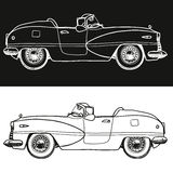 Black and white retro carhand-drawn. Vector illustration Royalty Free Stock Photo