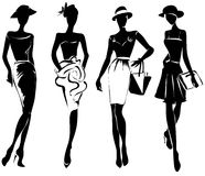 Black and white retro fashion models in sketch style Stock Photography